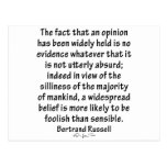 Beliefs by Bertrand Russell Post Card