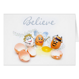 Believe  Blank Concept Card - Cracked Eggs - Humor