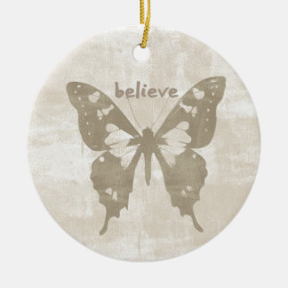 Believe Butterfly Christmas Ornament