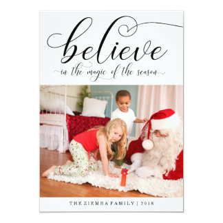 Believe Calligraphy Christmas Holiday Photo Card