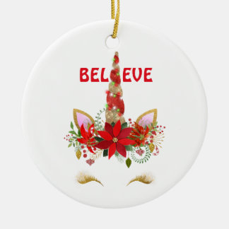 Believe Christmas Unicorn Christmas Ornament