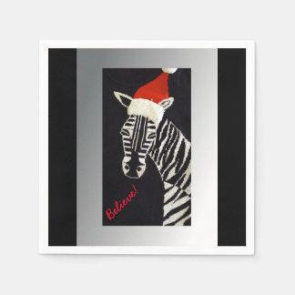 Believe! Christmas Zebra with Red Santa Hat Disposable Serviettes
