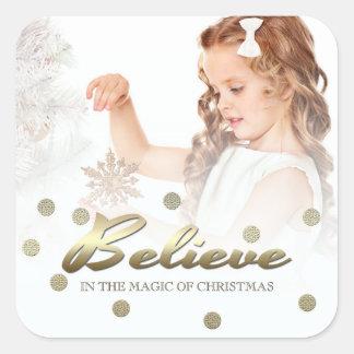 Believe. Custom Christmas Photo Stickers