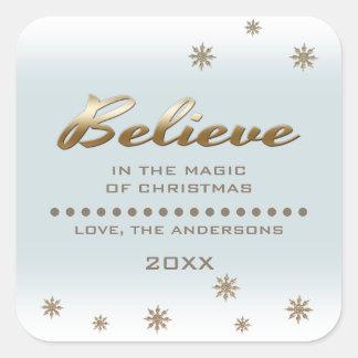 Believe. Custom Christmas Stickers