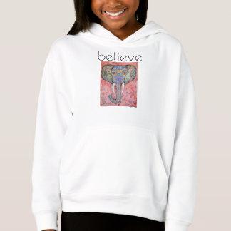 Believe Elephant Art Girl's Fleece Pullover