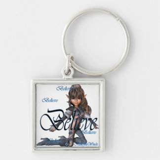 * Believe Elf Silver-Colored Square Key Ring