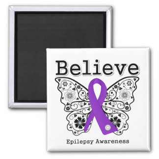 Believe Epilepsy Awareness Square Magnet