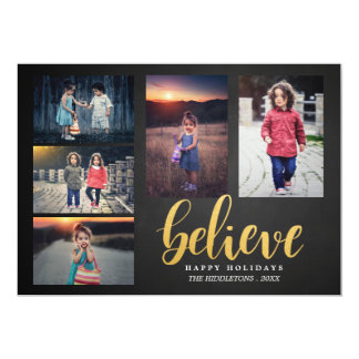 Believe Faux Gold Chalkboard Holiday Five Photos Card