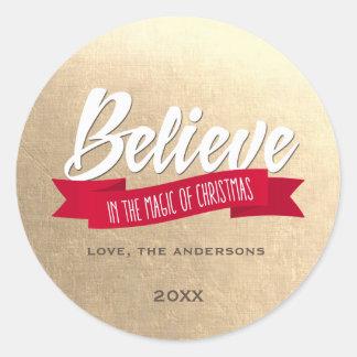 Believe. Faux Gold Foil Custom Christmas Stickers