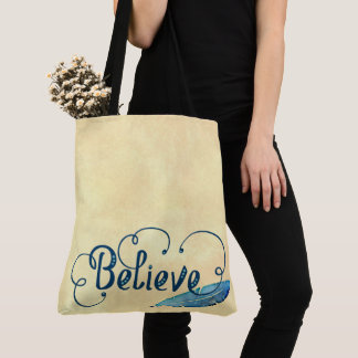 Believe Feather Watercolor Fancy Typography Tote Bag