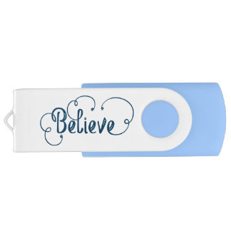 Believe Feather Watercolor Fancy Typography USB Flash Drive
