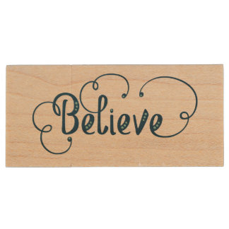 Believe Feather Watercolor Fancy Typography Wood USB 3.0 Flash Drive