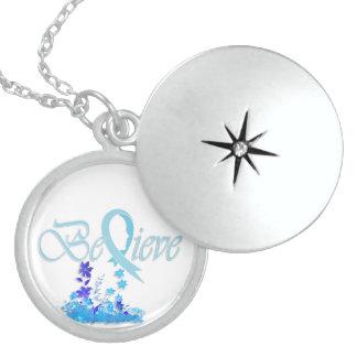 """Believe """"Flower-Necklace-LightBlue"""" Round Locket Necklace"""