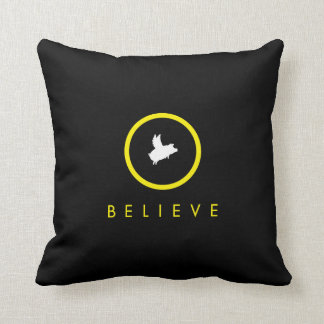 believe-flying pig pillow