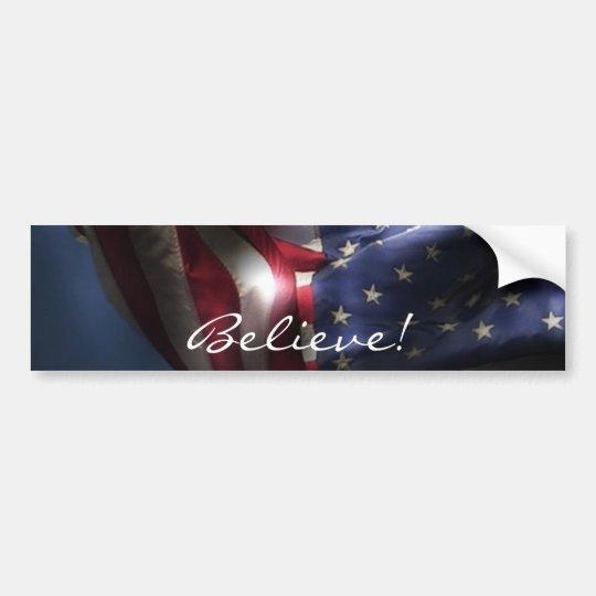 Believe!-Glowing American Flag Bumper Sticker