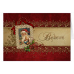 Believe Gold and Red Damask Vintage Christmas Greeting Card