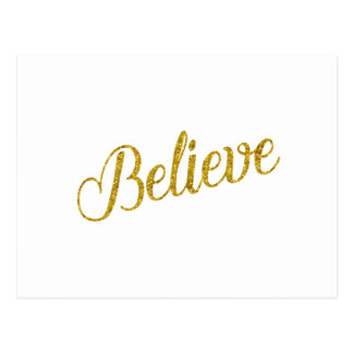 Believe Gold Faux Glitter Metallic Inspirational Postcard