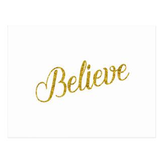 Believe Gold Faux Glitter Metallic Inspirational Postcard