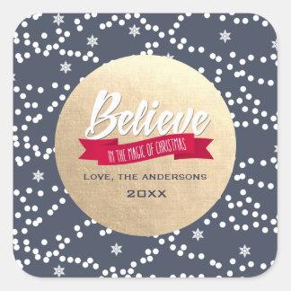 Believe. Gold Foil Custom Christmas Stickers