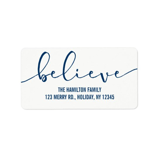 Believe HOLIDAY BLUE Hand Lettered Script Address Label