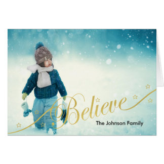 Believe Holiday Photo Greeting Card