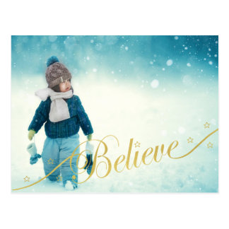 Believe Holiday Photo Postcards