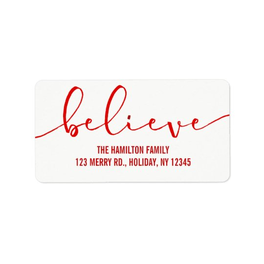 Believe HOLIDAY RED Hand Lettered Script Address Label