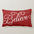 Believe in Christmas Holiday Snowflake Pillow