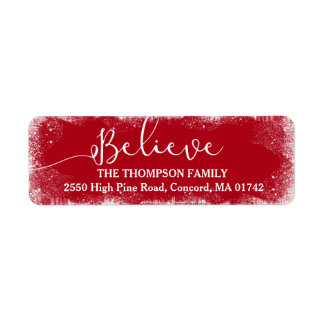 Believe in Christmas Rustic Snow Merry Red Custom
