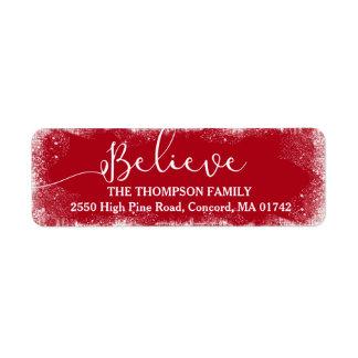 Believe in Christmas Rustic Snow Merry Red Custom Return Address Label