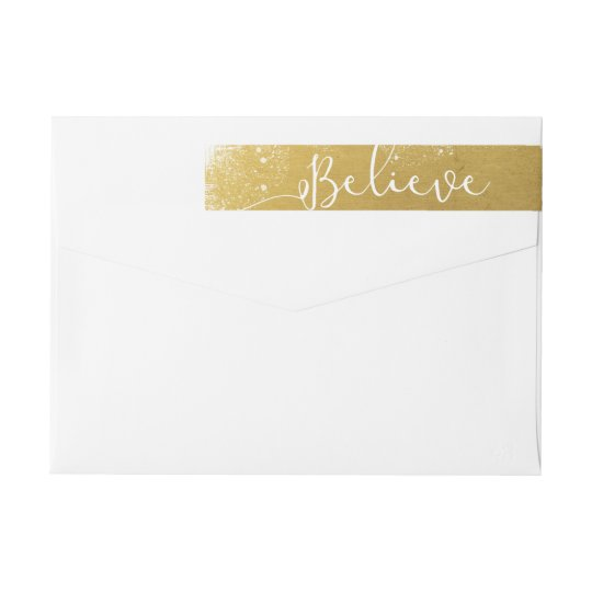 Believe in Christmas Vintage Gold Snowy Wrap Around