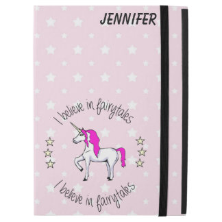 "Believe in fairytales unicorn cartoon girls iPad pro 12.9"" case"
