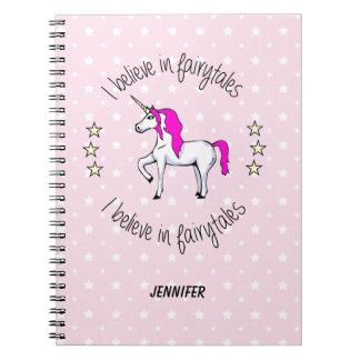 Believe in fairytales unicorn cartoon girls notebook