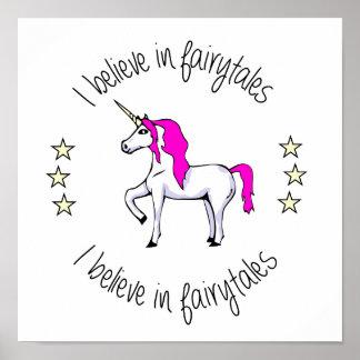 Believe in fairytales unicorn cartoon poster