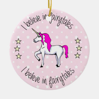 Believe in fairytales unicorn pink girl christmas ornament