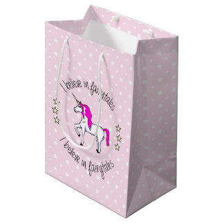 Believe in fairytales unicorn pink girl medium gift bag