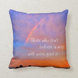 """Believe in Magic"" Quote Rainbow Sunrise Photo Cushion"