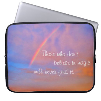 """Believe in Magic"" Quote Rainbow Sunrise Photo Laptop Sleeve"