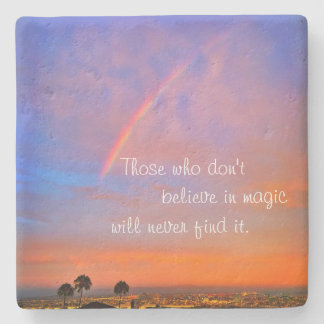 """Believe in Magic"" Quote Rainbow Sunrise Photo Stone Coaster"