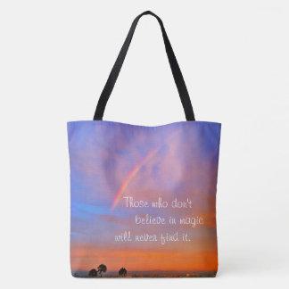 """""""Believe in magic"""" quote rainbow sunrise photo Tote Bag"""