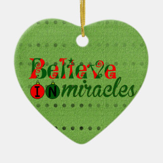 Believe in Miracles Ceramic Heart Decoration