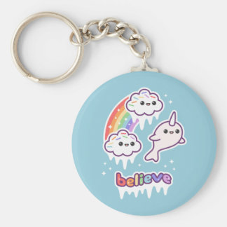 Believe in Narwhals Basic Round Button Key Ring