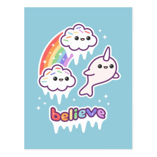 Believe in Narwhals Postcard