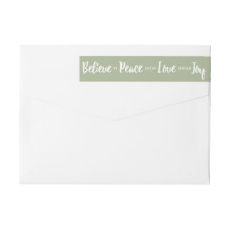Believe in Peace Love Joy Christmas Holiday Custom Wrap Around Label