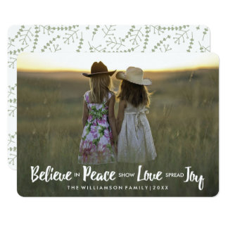 Believe in Peace Love Joy Christmas Holiday Photo Card