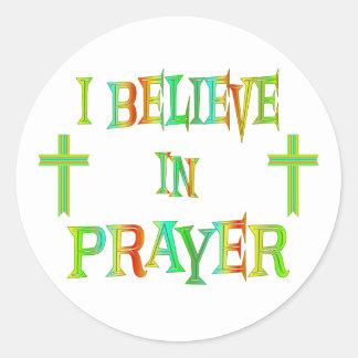 Believe in Prayer Classic Round Sticker