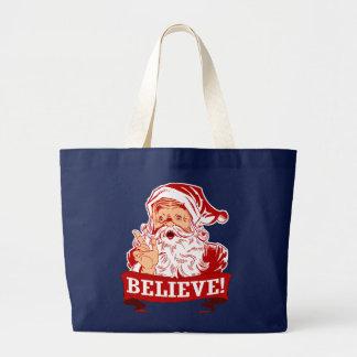 Believe In Santa Claus Large Tote Bag