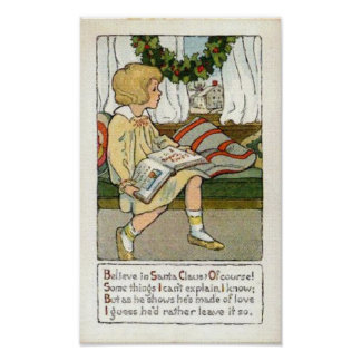Believe in Santa Claus VIntage Card Print