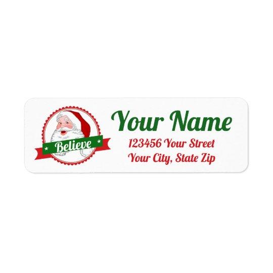 Believe in Santa  Personalise Return Address Label