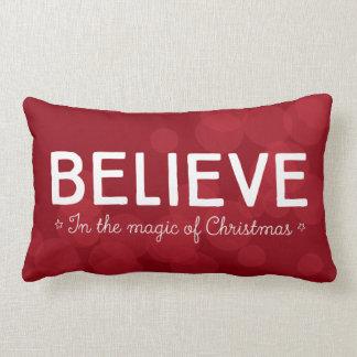 Believe in the magic of Christmas • red bokeh Lumbar Cushion